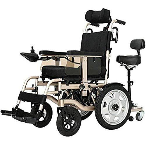 KFDQ Rollstuhl, Dp-Chair Faltbarer tragbarer Elektrorollstuhl, Rahmen aus Aluminiumlegierung, elektromagnetisches Bremssystem, Li-Ionen-Batterie mit Doppelmotor, 360 ° Smart Joystick mit Kippschutz,