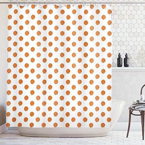 ABAKUHAUS Honingraat Douchegordijn, Bijenkorven Cartoon Stijl, stoffen badkamerdecoratieset met haakjes, 175 x 240 cm, Oranje Aarde Geel