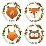 24 motivierende, niedliche Tier Aufkleber | Sticker mit Bär, Eule, Fuchs und Eichhörnchen, MATTE...