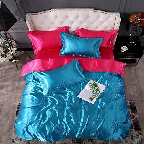 Bedding-LZ -Verano Hielo Seda de Cuatro Piezas 1,8 m de Cama Simple Hielo Fresco Seda simulación de Seda Estudiante Dormitorio Familia Familia Regalo Regalo-T_Cama de 2.0m (4 Piezas)