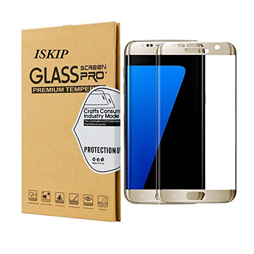 Protector de pantalla ISKIP para Galaxy S7 Edge, vidrio templado Película de cobertura total curvada 4D HD Protector de pantalla de dureza ultra claro 9H para Galaxy S7 Edge [No S7] (Dorado)