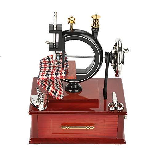 Hztyyier Caja de música Vintage Máquina de Coser Antigua Caja de música Decoración de Mesa Mecánica Regalo de cumpleaños de Navidad