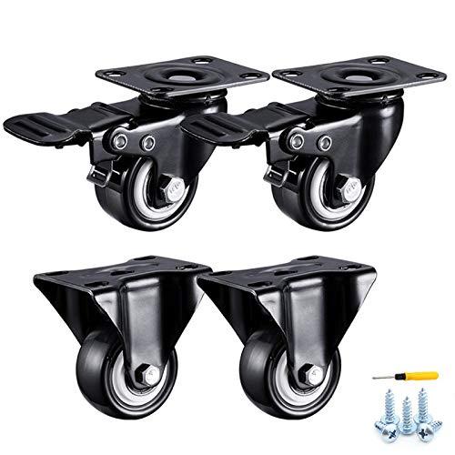 XHNXHN Ruedas de ruedas giratorias ruedas para muebles, ruedas de placa, ruedas de carretilla en poliuretano, rodamientos dobles, con tornillos, 4 Pcske40 mm/1.6 pulgadas