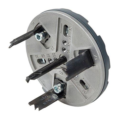 Wolfcraft 5985000 Sierra de corona ajustable para uso universal, 0 W, 1 V, Ø 35, 50, 65, 68, 74 & 80 mm