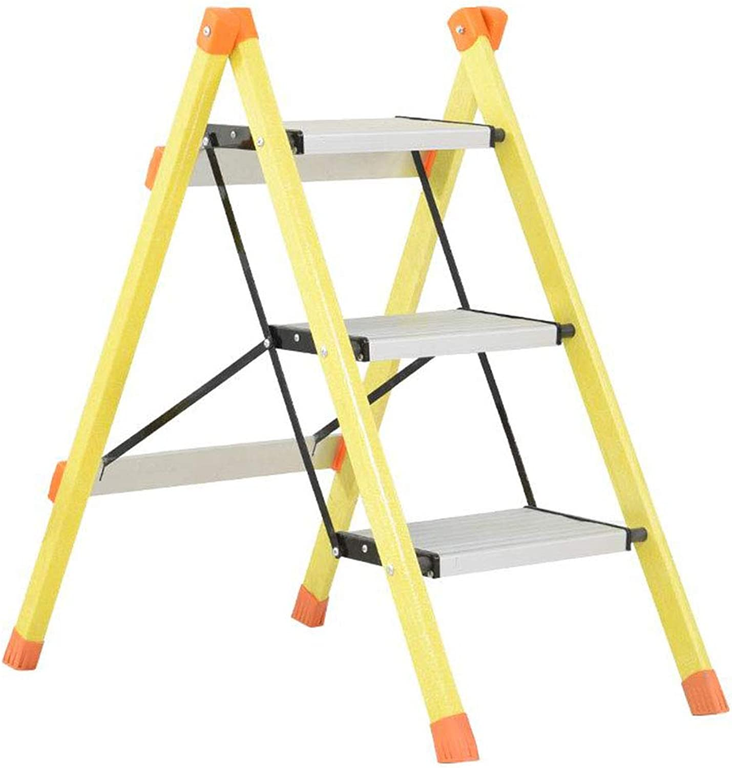 WaWei Three-Step Folding Step Stool Aluminum Step Ladder, Household Kitchen Portable Pedal Ladder Yellow Step Stool