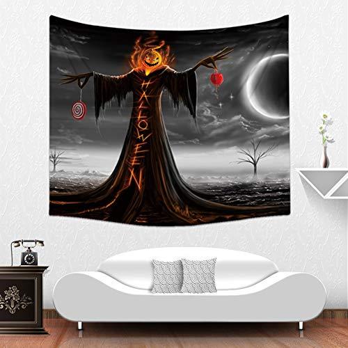 Donkerzwart gotisch Halloween ornament wandbehang tapijt duüster spukhuis vogelverscheuken pompoen lantaarns vleermuis krahe nacht landschap wandtapijt 59 * 51in Patroon4