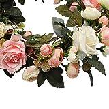 Pauwer Deko Kranz Wandkranz Handgefertigt Kranz Für Outdoor Türkranz Rose Rebe Blumenkranz Künstliche Dekorative Landschaftsbau Kranz (Pinke Rose, Durchmesser 35cm) - 4