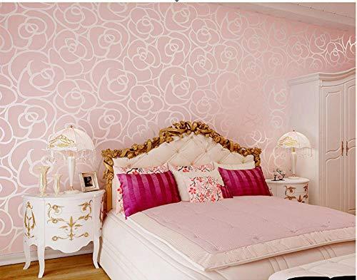 Behang vliesbehang - Rose 3D muursticker woonkamer achtergrond slaapkamer milieu deco 0,53 m x 10 m roze