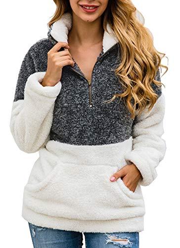 BTFBM Women Long Sleeve Zipper Sherpa Sweatshirt Soft Fleece Pullover Outwear Coat with Pockets (Grey, Medium)