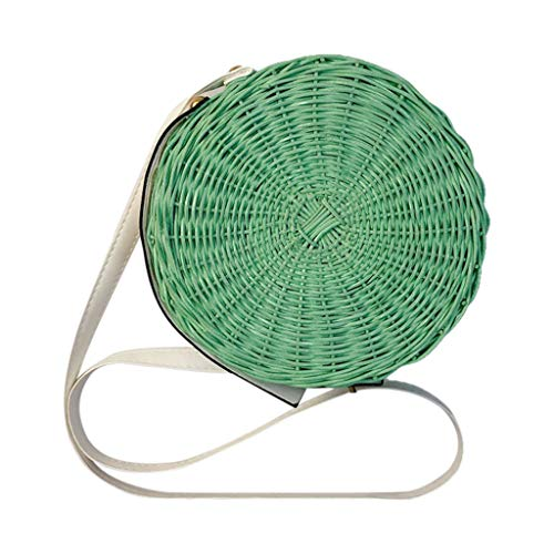 Lomsarsh Nuevo Bolso Crossbody Bale Round Rattan Bag para Mujer Straw Bag Handwoven Beach Shoulder Purse Bag