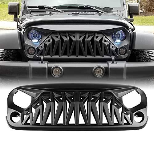 ALLINONEPARTS Matte Black Front Grill, Shark Grille Compatible with 2007-2018 Jeep Wrangler Rubicon Sahara Sport JK JKU