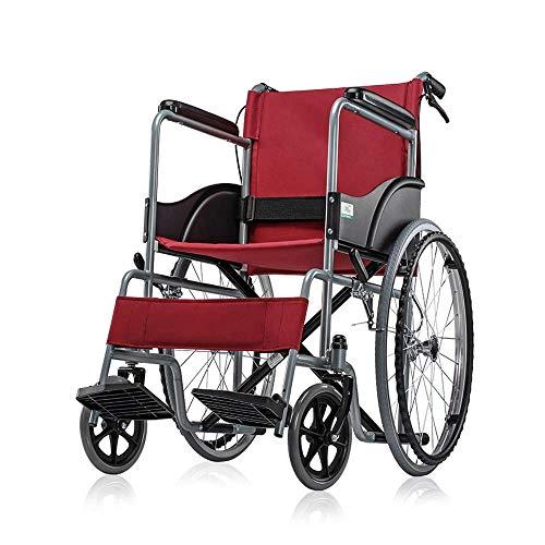 ZCYXQR Silla de Ruedas Plegable, portátil, Manual, Carrito para Silla de Ruedas para Ancianos, discapacitados, Viajes, Ultraligero, portátil, para niños, S (Viaje Conveniente)
