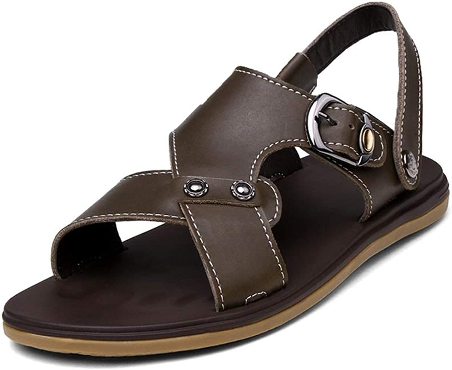 GLSHI Men Beach shoes Summer Slipper Slip On Style Genuine Leather Comfortable Sports Travel Adjustable Buckle Sandals New