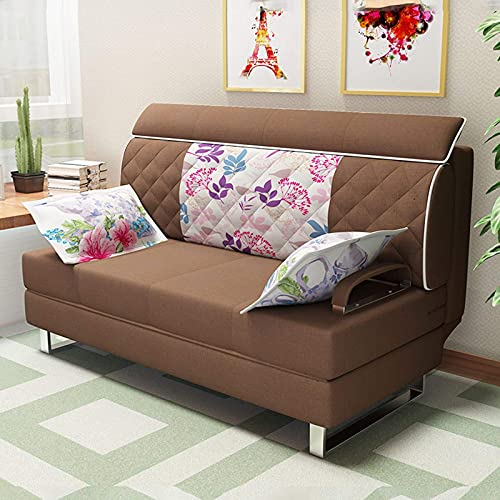 Home Equipment Sofá cama convertible Sofá cama futón Sofá cama ajustable con reposabrazos Reclinable Sofá multifunción plegable de tela Sofá de dos plazas Muebles de sala de estar Lavable marrón 1.