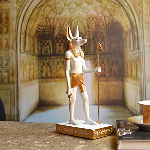 SHUANGBING Statue Sculpture Ornament Egypt Style Anubis Statue&Sculpture Egypt God Ornaments Resin Craft Home Decoration Accessories,White,6.5X4X17 Cm