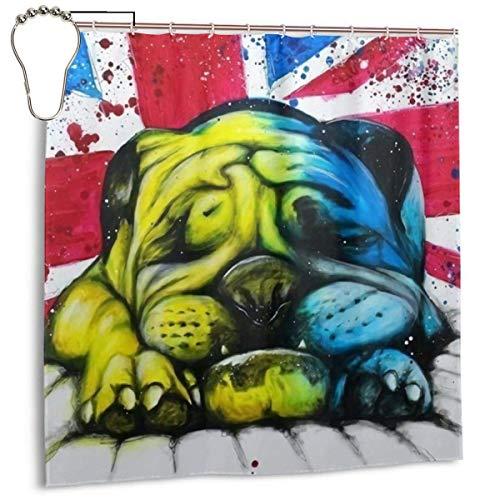 lanjiangbaih Englisch Bulldog Britischen Hund Malerei Duschvorhang Set Mit 7 To12 Haken 3D Druck Bad Vorhang 72 \'X 72\'