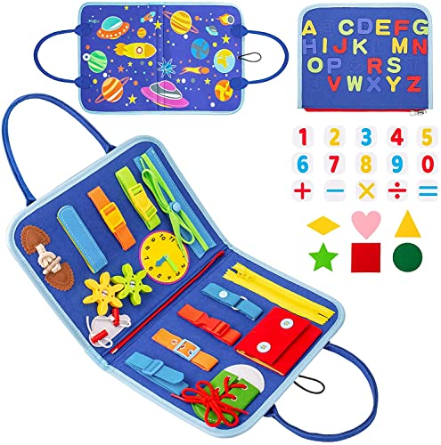 Tablero Montessori,Splaks Tablero Ocupado para Niños Habilidades Básicas Juguetes Educativo Temprano Aprende la Psico Motricidad Fina Juguetes Sensoriales Prácticos con Cremalleras, Tiempo, Alfabeto