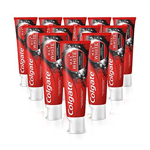 Colgate Zahnpasta Max White Charcoal 12 x 75ml, mit Aktivkohle, entfernt bis zu 100% der oberflächlichen Verfärbungen