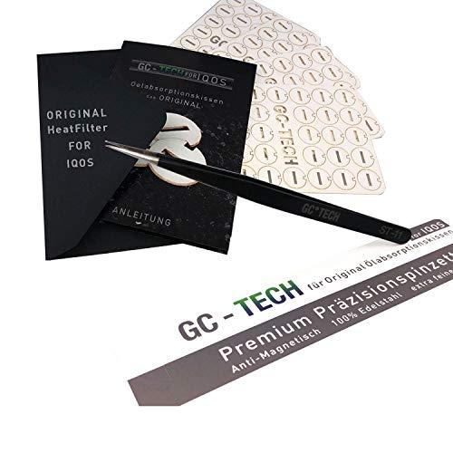 GC Tech® ORIGINAL Heatfilter für alle IQOS Holder 3 2.4 Plus + Duo für sauberen Genuss und Schutz der Elektronik 128 Ölabsorptionskissen + Präzisionspinzette