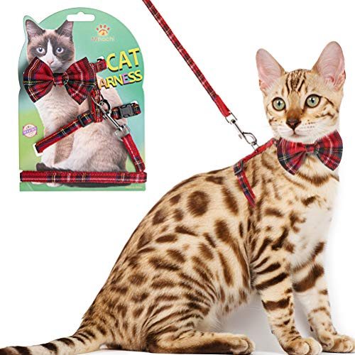 Cat Harness Adjustable with Removable Bowtie-for Kitty & Rabbit,Plaid Harness and Leash Set, Red