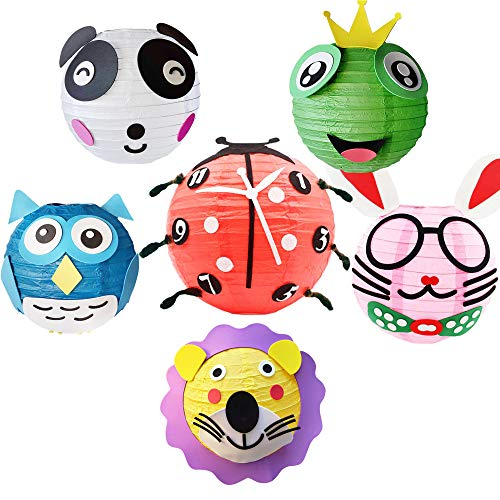 Animal Chinese paper lantern party decoration kit. 6 colorful decorative lanterns with hanging stick to make pastel color craft ornament. DIY kit for kid birthday parties, and colored home decorations.