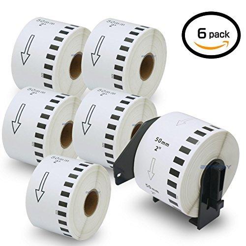 6ロール ブラザー ラベル 50mmx30.48m Brother 長尺紙テープ DK-2223 感熱ラベルプリンター用 + 1個 セット 専用互換カセットフレーム(ロール交換可能タイプ)