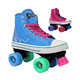Lenexa Roller Pixie Kid's Quad Roller Skates with High Top Shoe Style for Indoor/Outdoor Skating | Durable, Easy to Skate, Made for Kids (Blue, J11)