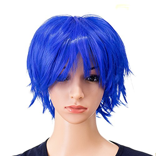 SWACC Unisex Fashion Spiky Layered Short Anime Cosplay Wig for Men and Women (Blue)