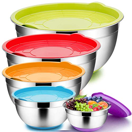 TeamFar Mixing Bowls with Lids Set, 1.5 / 2.5 / 3 / 5 / 8 QT, Stainless Steel Large Metal Nesting Salad Bowl Set of 5, Healthy  Delaware