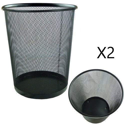 EUROXANTY® Papeleras de oficina | 29,5 x 35 cm | Papelera circular de rejilla metalica | Papelera negra | 19 L | Pack de 2 unidades