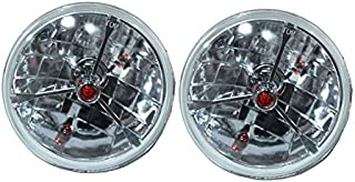 """7"""" Red Dot Tri bar H4 Headlights With Turn Signal Push in Bulb lamps"""