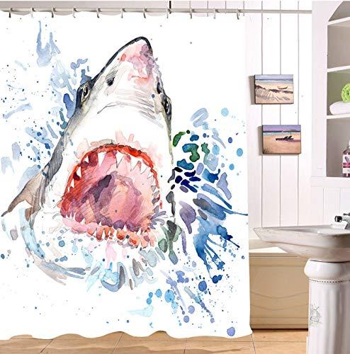 Nyngei Jaws Duschvorhang Shark Attack Ocean Nautical Sommer Strand Meer Badezimmer Dekor 183X183CM