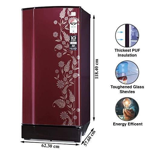 Godrej 190 L 3 Star Inverter Direct-Cool Single Door Refrigerator (RD 1903 PTI 33 DR WN, Denim Scarlet, Inverter Compressor, Jumbo Vegetable Tray)