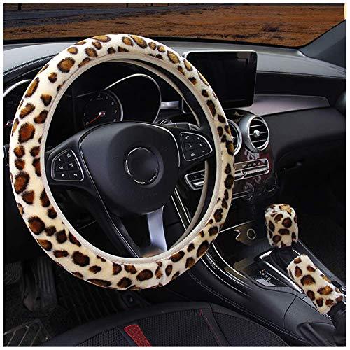 Fluffy Leopard-Druck-Elastic-Auto-Lenkrad-Abdeckung Anti-Rutsch-Warm Lenkradbezug Umschalt- und Getriebedeckel Fit for 14inch - 15inch,3PCS Leopard