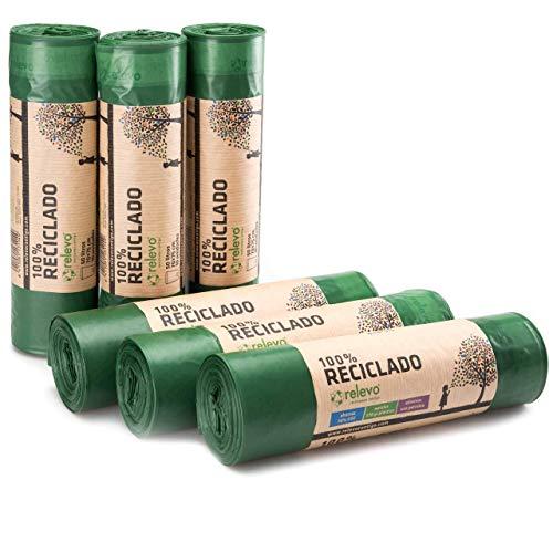 Relevo Sacchi Spazzatura 100% riciclati, 50 Litri, 60 unità