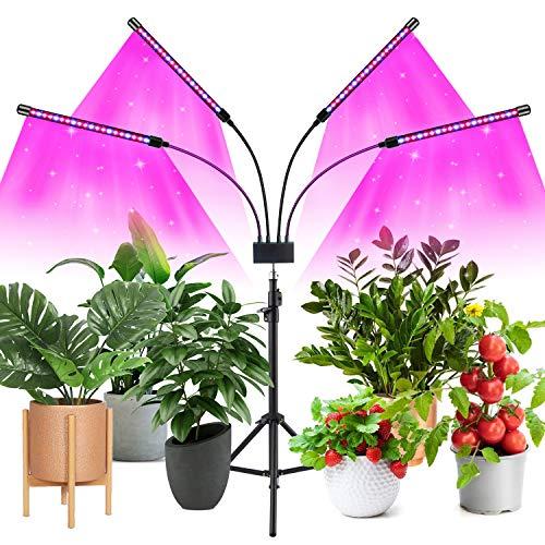 Luz de cultivo LED con soporte, lámpara de planta de piso mejorada con control remoto, luz de planta de 4 cabezales de espectro completo para plantas de interior altas y grandes