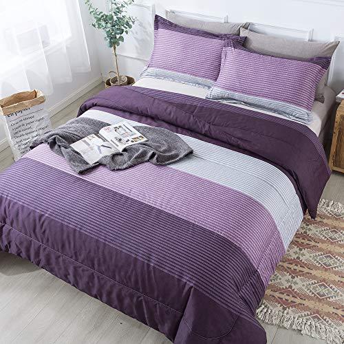 Andency Striped Comforter Set Queen Size (90x90 Inch), 3 Pieces (1 Purple Stripe Comforter, 2 Pillowcases) Soft Microfiber Down Alternative Comforter Bedding Set with Corner Loops (Purple, Grey)