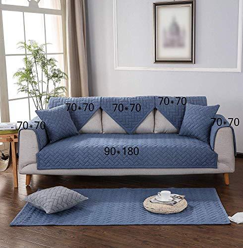 YLCJ bankplaid met eiland, antislip, L-schaal, van katoen, voor huisdieren, antislip, wasbaar, blauw, 1 stuk 110 x 240 cm