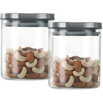 Borosil Classic Glass Jar For Kitchen Storage, Set of 2, (600 ml + 600 ml)