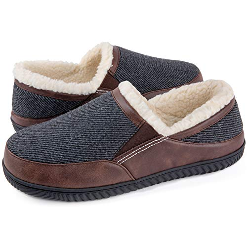 ULTRAIDEAS Men's Memory Foam Slippers with Cozy Fleece Lining, Closed Back House Slippers with Solid Rubber Sole (Grey, 10)