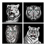 Visual Art Decor - Lienzo Decorativo para Pared, diseño de Tigre, Color Blanco y Negro