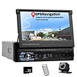 Car Stereo Single Din in Dash Head Unit with GPS 7 Inch HD Digital Touch Screen Car Radio with Bluetooth Audio Video Support Mirror Link FM/SD/USB/AUX-in with Backup Camera & Remote Control