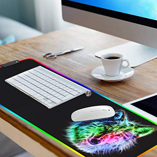 RGB Mouse Pad,Gaming Mouse Pad RGB,Cool Animal LED Mousepad-14 Light Modes Soft Non-Slip Base Large LED Mouse Mat for Laptop Computer PC Games 31.5 X 12 inches (RGB Wolf Mouse Pad) Photo #7