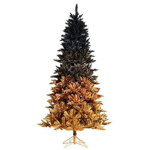 Vickerman 558430-6.5' x 42' Black Gold Ombre Christmas Tree (A189665)