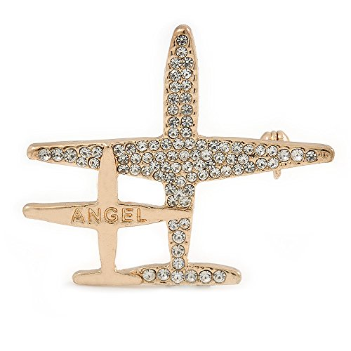 Double Aeroplane 'Angel' Clear Crystal Brooch in Gold Tone Metal - 45mm