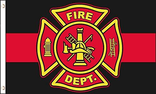 AZ FLAG Drapeau Pompiers américains 150x90cm - Drapeau Fire Department des USA 90 x 150 cm - Drapeaux