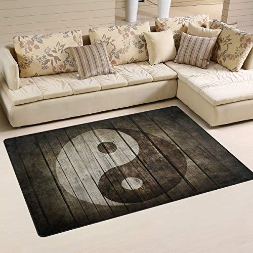 Use7 Alfombra china Ying Yang de madera, para sala de estar, dormitorio,...