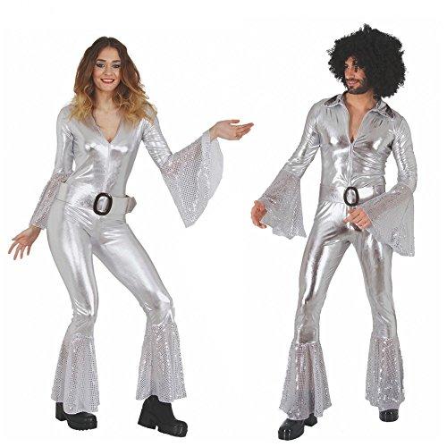 Krause & Sohn Disfraz Disco Mujer S-XL mono plateado carnaval 70s ...