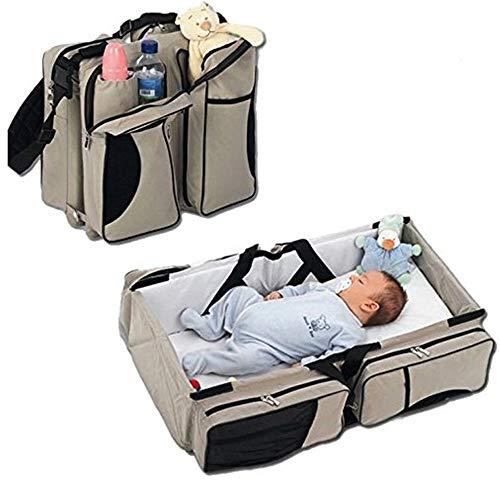 3 in 1 Wickeltaschen für Babys, Multifunktional tragbar Baby-Reisebett Krippe Wickeltasche Faltbar Tragetasche für 0-12 Monate, Dunkelblau - 4