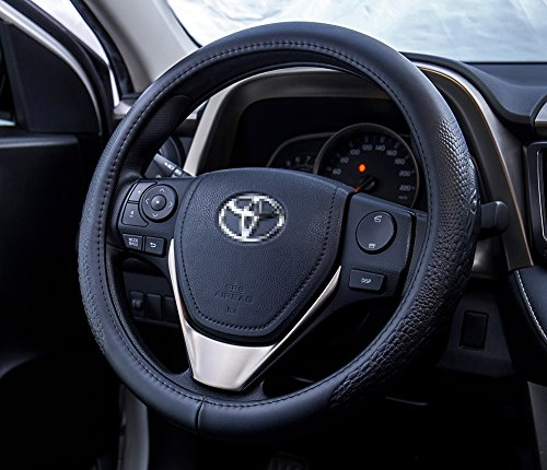 FMS Genuine Leather Car Steering Wheel Cover 15 inch Odorless Universal Anti Slip for Auto Automotive Interior Accessories Wrap Cover - Black